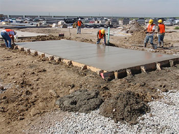 A wet concrete slab that EAD could work with in their project management services